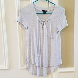 Laced Front Gray Tee